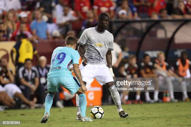 Eric Bailly of Manchester United and Lucas Digne of FC Barcelona during the International Champions Cup 2017 match between FC Barcelona and...