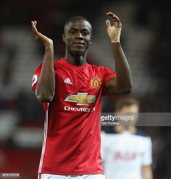 Eric Bailly of Manchester United applauds the fans after the Premier League match between Manchester United and Tottenham Hotspur at Old Trafford on...