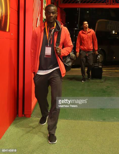 Eric Bailly of Manchester United arrives ahead of the UEFA Europa League Round of 16 second leg match between Manchester United and FK Rostov at Old...