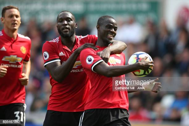 Eric Bailly of Manchester United celebrates after he scores a goal to make it 01 with Romelu Lukaku of Manchester United during the Premier League...