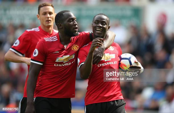 Eric Bailly of Manchester United celebrates after scoring to make it 01 with Romelu Lukaku of Manchester United during the Premier League match...