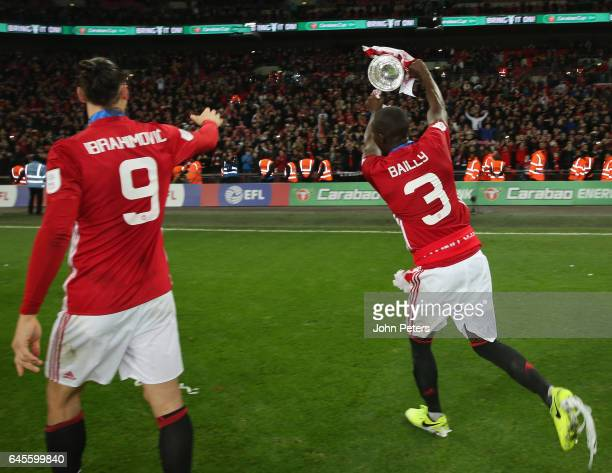 Eric Bailly of Manchester United celebrates after the EFL Cup Final match between Manchester United and Southampton at Wembley Stadium on February 26...