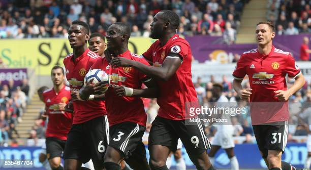 Eric Bailly of Manchester United celebrates scoring their first goal during the Premier League match between Swansea City and Manchester United at...