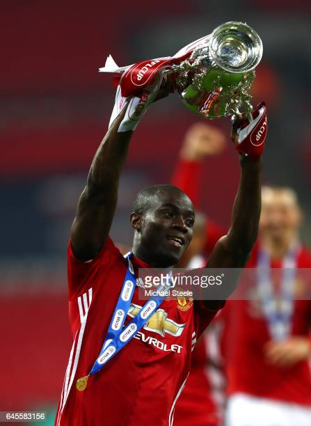Eric Bailly of Manchester United celebrates victory with the trophy after during the EFL Cup Final between Manchester United and Southampton at...