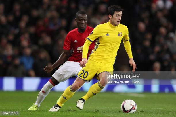 Eric Bailly of Manchester United competes with Sardar Azmoun of FK Rostov during the UEFA Europa League Round of 16 second leg match between...