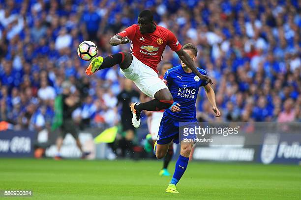 Eric Bailly of Manchester United controls the ball in mid air during The FA Community Shield match between Leicester City and Manchester United at...