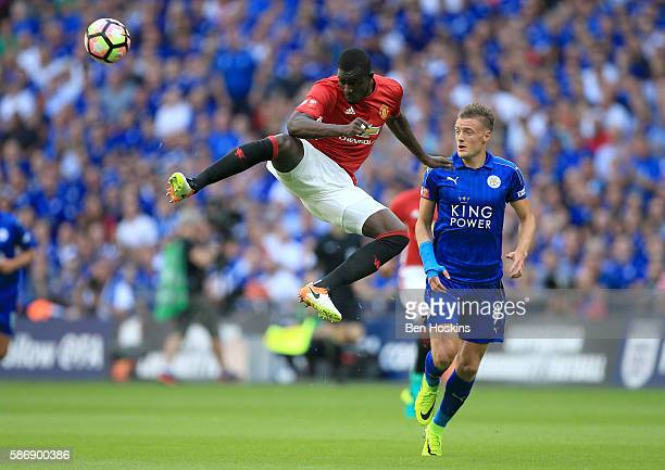 Eric Bailly of Manchester United heads the ball during The FA Community Shield match between Leicester City and Manchester United at Wembley Stadium...