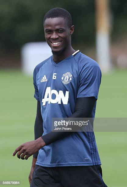 Eric Bailly of Manchester United in action during a first team training session at Aon Training Complex on July 13 2016 in Manchester England