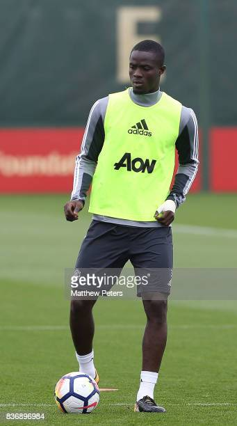 Eric Bailly of Manchester United in action during a first team training session at Aon Training Complex on August 22 2017 in Manchester England