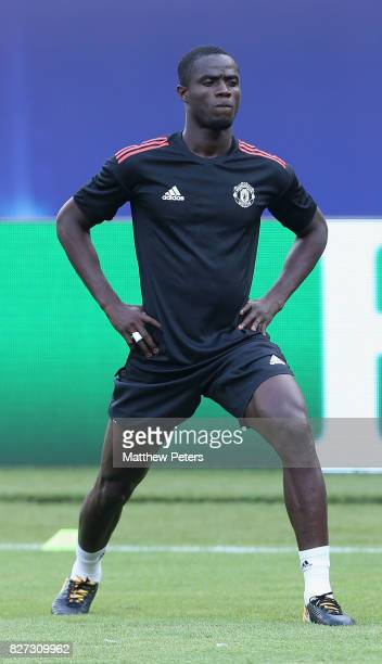 Eric Bailly of Manchester United in action during a training session ahead of the UEFA Super Cup match between Manchester United and Real Madrid on...