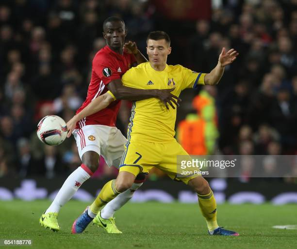 Eric Bailly of Manchester United in action with Dmitri Poloz of FK Rostov during the UEFA Europa League Round of 16 second leg match between...