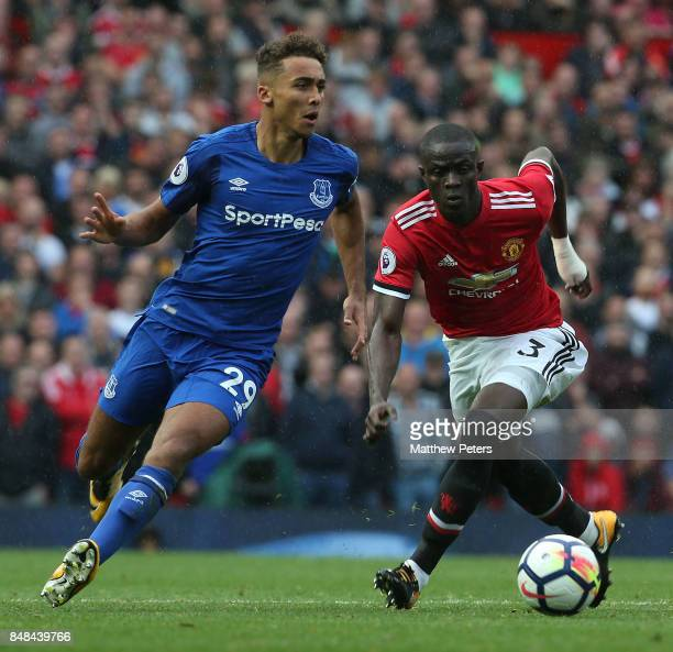 Eric Bailly of Manchester United in action with Dominic CalvertLewin of Everton during the Premier League match between Manchester United and Everton...