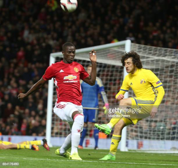 Eric Bailly of Manchester United in action with Khoren Bayramyan of FK Rostov during the UEFA Europa League Round of 16 second leg match between...