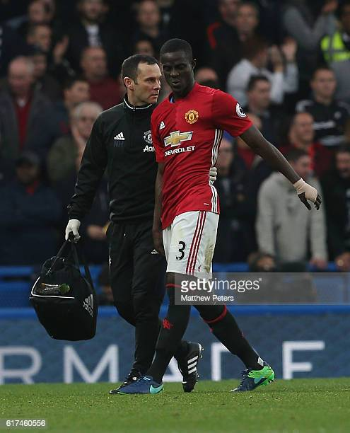 Eric Bailly of Manchester United leaves the match with an injury during the Premier League match between Chelsea and Manchester United at Stamford...