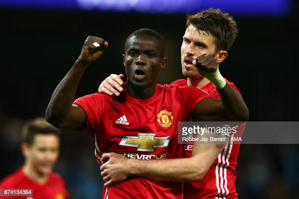 Eric Bailly of Manchester United reacts at the end of the Premier League match between Manchester City and Manchester United at Etihad Stadium on...