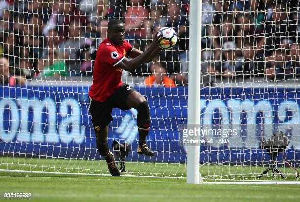 Eric Bailly of Manchester United retrieves the ball after he scores to make it 01 during the Premier League match between Swansea City and Manchester...