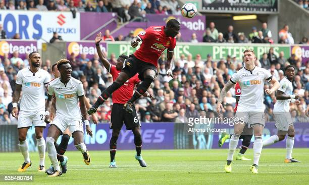 Eric Bailly of Manchester United wins the header during a free kick during the Premier League match between Swansea City and Manchester United at The...