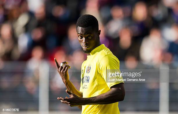 Eric Bailly of Villarreal CF reacts during the La Liga match between SD Eibar and Villarreal CF at Ipurua Municipal Stadium on April 3 2016 in Eibar...