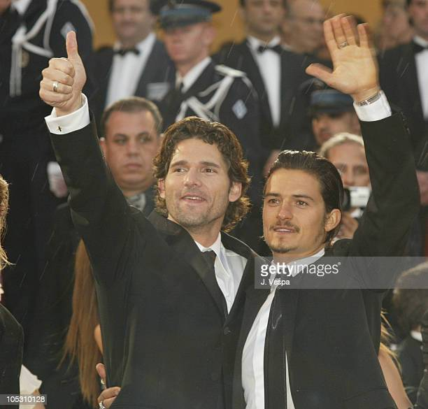 Eric Bana and Orlando Bloom during 2004 Cannes Film Festival 'Troy' Premiere at Palais Du Festival in Cannes France