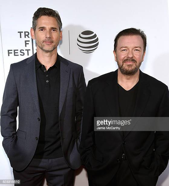 Eric Bana and Ricky Gervais attend Tribeca Talks After the Movie 'Special Correspondents' 2016 Tribeca Film Festival at John Zuccotti Theater at BMCC...