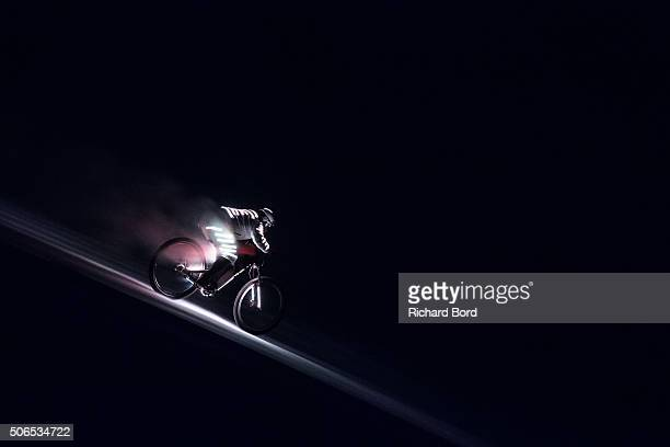 Eric Barone performs during the 'Eclair' World Premiere artistic performance by night on the Chabrieres speed slope on January 23 2016 in Vars France...