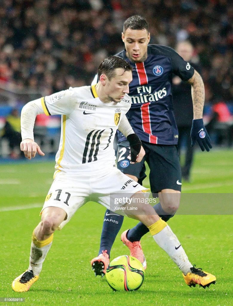 Eric Bautheac of Lille LOSC in action with Gregory Van Der Wiel of Paris Saint-Germain during the French Ligue 1 between Paris Saint-Germain and Lille OSC at Parc Des Princes on february 13, 2016 in Paris, France.