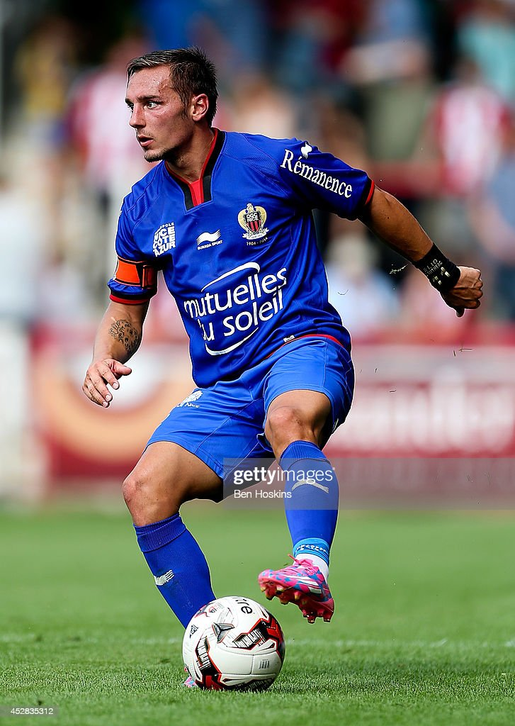 Eric Bautheac of Nice in action during the Pre Season Friendly between Brentford and Nice at Griffin Park on July 26, 2014 in Brentford, England.