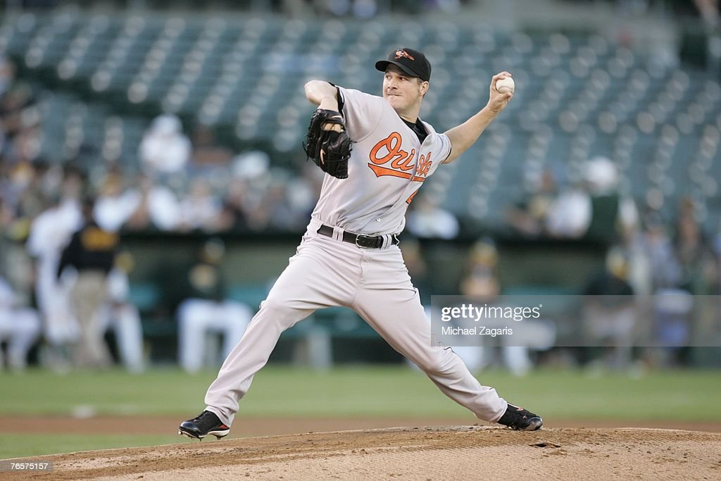 Eric Bedard of the Baltimore Orioles pitches during the game against the Oakland Athletics at the McAfee Coliseum in Oakland, California on July 20, 2007. The Orioles defeated the Athletics 6-1.