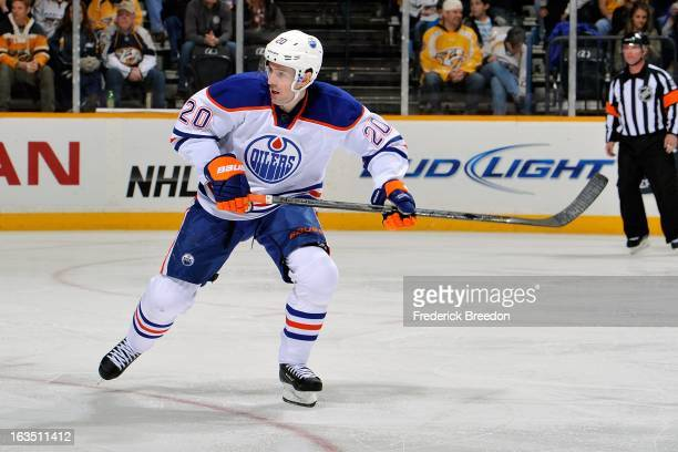 Eric Belanger of the Edmonton Oilers plays against the Nashville Predators at Bridgestone Arena on March 8 2013 in Nashville Tennessee