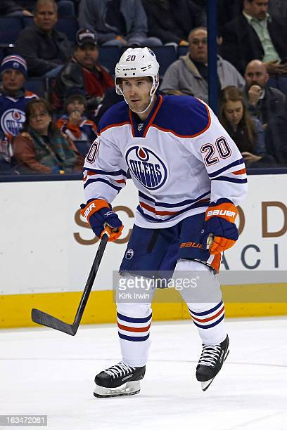 Eric Belanger of the Edmonton Oilers skates after the puck during the game against the Columbus Blue Jackets on March 5 2013 at Nationwide Arena in...
