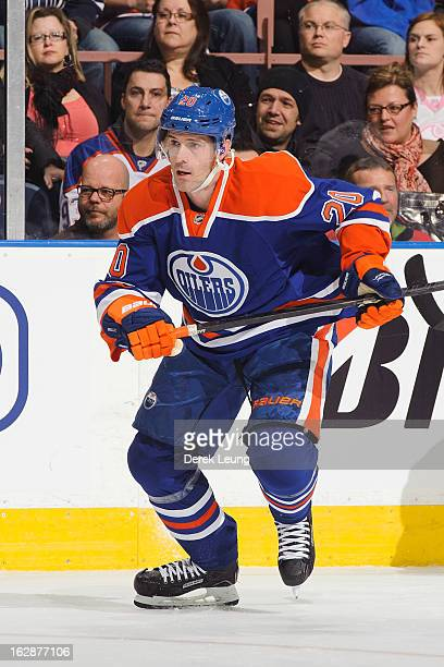 Eric Belanger of the Edmonton Oilers skates against the Los Angeles Kings during an NHL game at Rexall Place on February 19 2013 in Edmonton Alberta...
