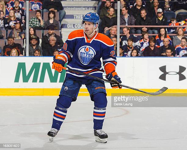 Eric Belanger of the Edmonton Oilers skates against the Minnesota Wild during an NHL game at Rexall Place on February 21 2013 in Edmonton Alberta...