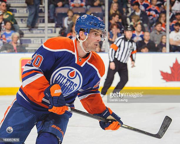 Eric Belanger of the Edmonton Oilers skates against the Phoenix Coyotes during an NHL game at Rexall Place on February 23 2013 in Edmonton Alberta...