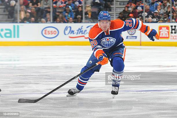 Eric Belanger of the Edmonton Oilers skates on the ice in a game against the St Louis Blues on March 23 2013 at Rexall Place in Edmonton Alberta...