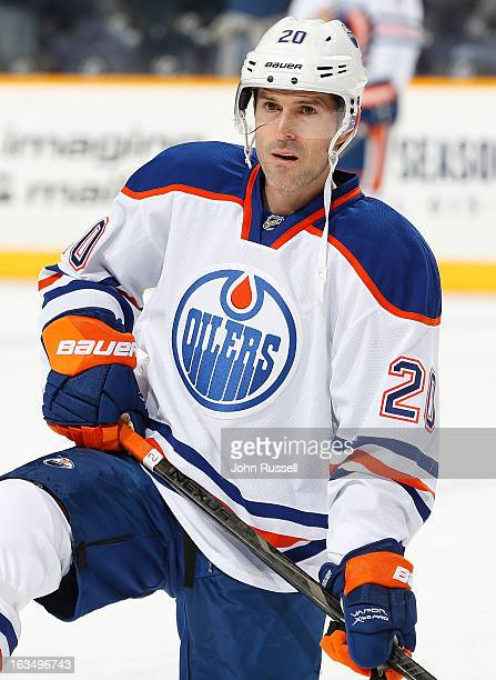 Eric Belanger of the Edmonton Oilers warms up against the Nashville Predators during an NHL game at the Bridgestone Arena on March 8 2013 in...