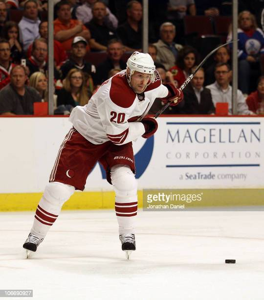 Eric Belanger of the Phoenix Coyotes fires a shot for a 2nd period goal against the Chicago Blackhawks at the United Center on November 10 2010 in...
