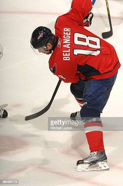 Eric Belanger of the Washington Capitals faces off during a NHL hockey game against the Boston Bruins on April 5 2010 at the Verizon Center in...