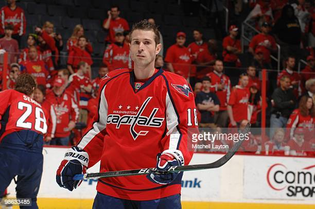 Eric Belanger of the Washington Capitals looks on before a game against the Montreal Canadiens during Game One of the Eastern Conference...