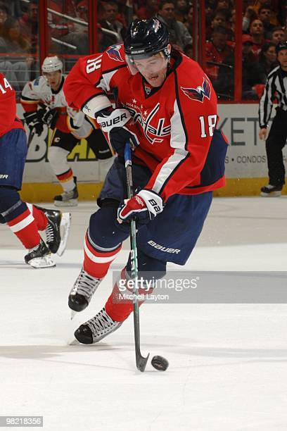 Eric Belanger of the Washington Capitals skates with the puck during a NHL hockey game against the Calgary Flames on March 28 2010 at the Verizon...
