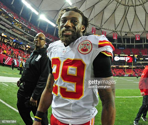 Eric Berry of the Kansas City Chiefs celebrates after the game against the Atlanta Falcons at the Georgia Dome on December 4 2016 in Atlanta Georgia