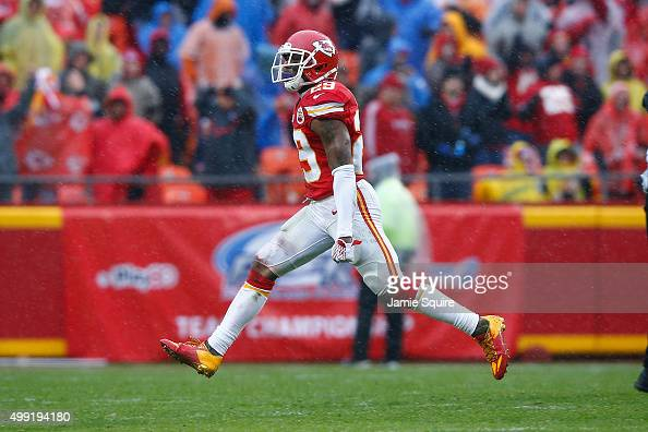 Eric Berry of the Kansas City Chiefs celebrates his teams fumble recovery at Arrowhead Stadium during the third quarter of the game against the...