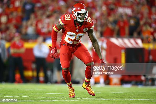 Eric Berry of the Kansas City Chiefs dropping back in defense during the game against the Denver Broncos at Arrowhead Stadium on September 17 2015 in...