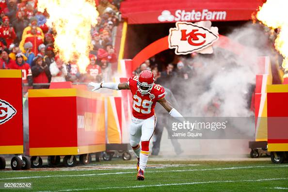 Eric Berry of the Kansas City Chiefs enters the field at Arrowhead Stadium during pre game against the Cleveland Browns on December 27 2015 in Kansas...