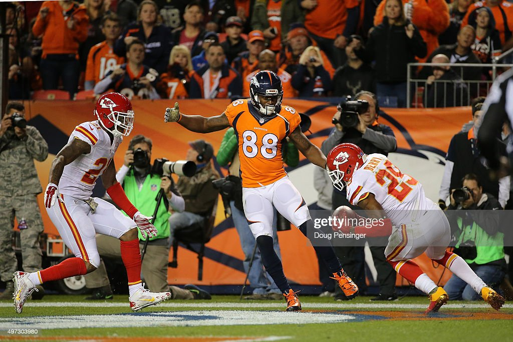 <a gi-track='captionPersonalityLinkClicked' href=/galleries/search?phrase=Eric+Berry+-+American+Football+Player&family=editorial&specificpeople=4501099 ng-click='$event.stopPropagation()'>Eric Berry</a> #29 of the Kansas City Chiefs intercepts a pass in the endzone from quarterback Brock Osweiler #17 of the Denver Broncos intended for <a gi-track='captionPersonalityLinkClicked' href=/galleries/search?phrase=Demaryius+Thomas&family=editorial&specificpeople=4536795 ng-click='$event.stopPropagation()'>Demaryius Thomas</a> #88 of the Denver Broncos after the ball was tipped by <a gi-track='captionPersonalityLinkClicked' href=/galleries/search?phrase=Sean+Smith+-+American+Football+Cornerback&family=editorial&specificpeople=11387512 ng-click='$event.stopPropagation()'>Sean Smith</a> #21 of the Kansas City Chiefs in the fourth quarter at Sports Authority Field at Mile High on November 15, 2015 in Denver, Colorado.