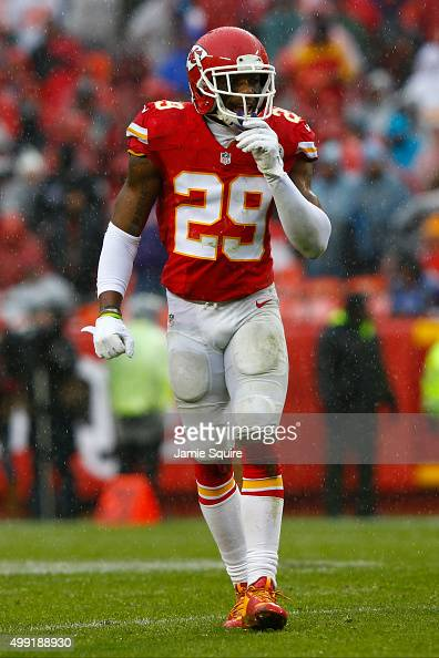 Eric Berry of the Kansas City Chiefs overlooks the offense at Arrowhead Stadium during the first quarter of the game against the Buffalo Bills on...
