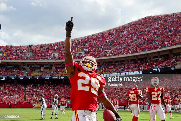 Eric Berry of the Kansas City Chiefs points to the sky after making an interception against the Jacksonville Jaguars on October 24 2010 in Kansas...