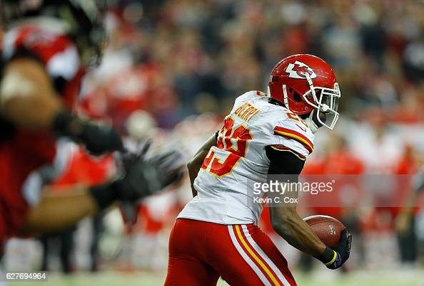 Eric Berry of the Kansas City Chiefs returns an interception on a failed twopoint converstion for two points against the Atlanta Falcons at Georgia...