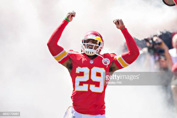 Eric Berry of the Kansas City Chiefs runs onto the field before a game against the Tennessee Titans at Arrowhead Stadium on September 7 2014 in...