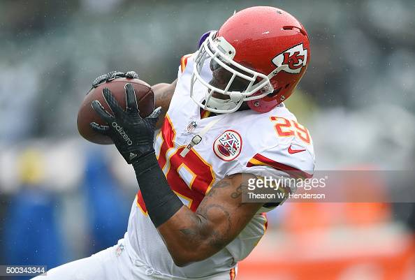 Eric Berry of the Kansas City Chiefs warms up during pregame warm ups prior to playing the Oakland Raiders in an NFL football game at Oco Coliseum on...