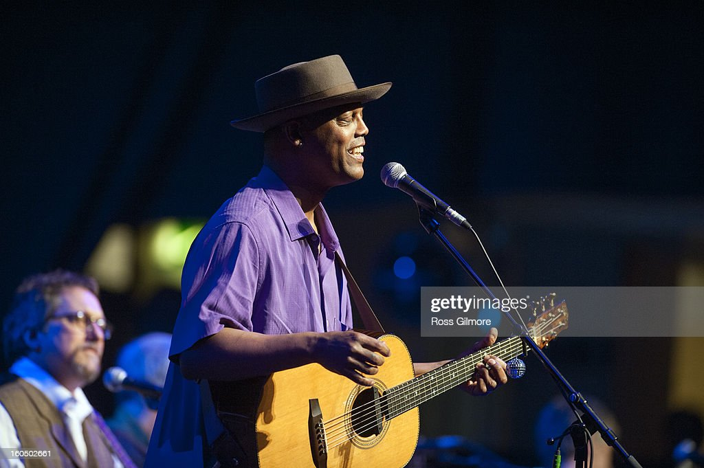 <a gi-track='captionPersonalityLinkClicked' href=/galleries/search?phrase=Eric+Bibb&family=editorial&specificpeople=3058711 ng-click='$event.stopPropagation()'>Eric Bibb</a> performs on stage as part of Transatlantic Sessions at Celtic Connections Festival 2013 at Glasgow Royal Concert Hall on February 1, 2013 in Glasgow, Scotland.